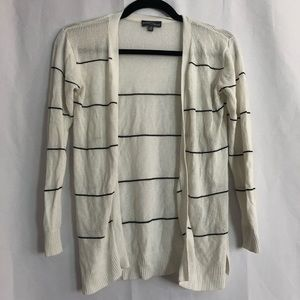 Market & Spruce White Striped Knit Cardigan XS